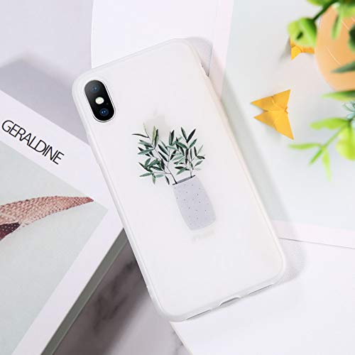 YSDSBM voor Palm Frond Cases iphone 5 5S SE 6 6S 7 8 Plus XS Max XR X Green Bonsai Plant Vaas Clear Back Phone Case Cover Shells