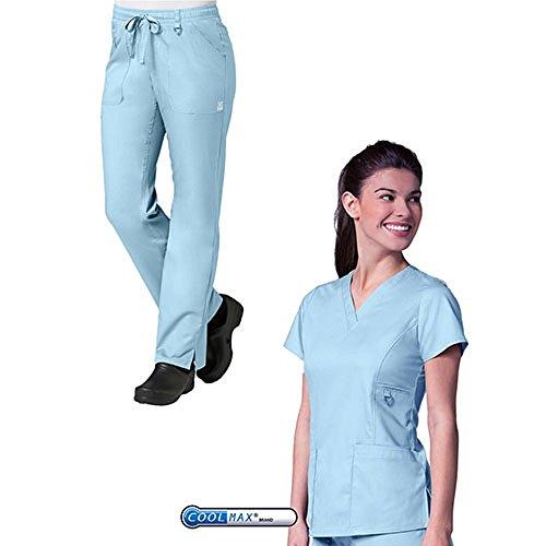EON by Maevn V-Neck Pocket Top & Full Elastic Zipper Pocket Cargo Pants Scrub Set (Small, Sky Blue)