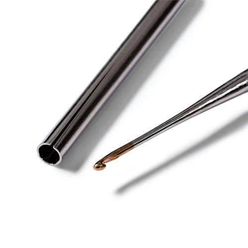 Prym 175625 Häkelnadeln Record Soft-Griff 0,60 mm silberfarbig Garn-Häkelnadel, Stahl, 0,6 mm