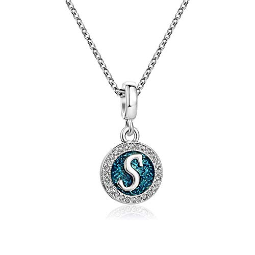 KunBead Jewelry Name Initial Letter S Pendant Necklace for Women Love Heart Family Baby Girl Nan Pendant Necklace for Her