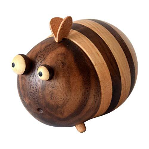 Amuzocity Wooden Cute Bee Toothpick Holder Storage Box for Desktop