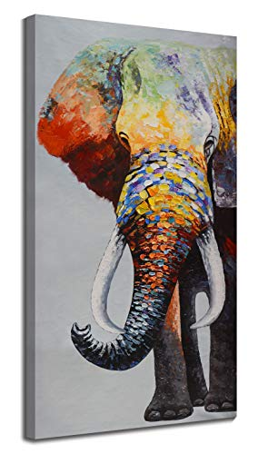 July Home Decor Large Contemporary Abstract Colourful Elephant Painting on Canvas Print Wall Art Picture for Living Room Bedroom Wall Decor (20 x 40 inch,)