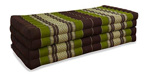 livasia Klappmatratze extrabreit (195cm x 110cm) aus Kapok, Faltbare Gästematratze, klappbare Matratze, asiatische Faltmatratze (braun/grün)