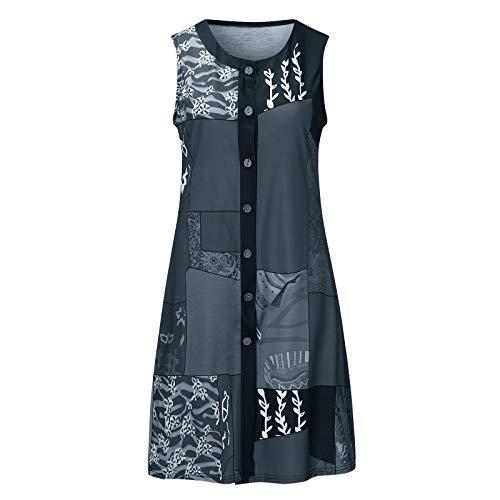 liulangzhe No1 Frauen ärmelloses Rundhals-Stitching bedrucktes Cardigan Button Dress