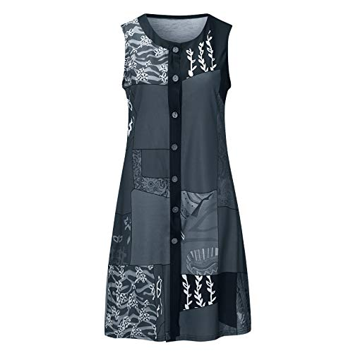 liulangzhe No1 Frauen ärmelloses Rundhals-Stitching bedrucktes Cardigan Button Dress