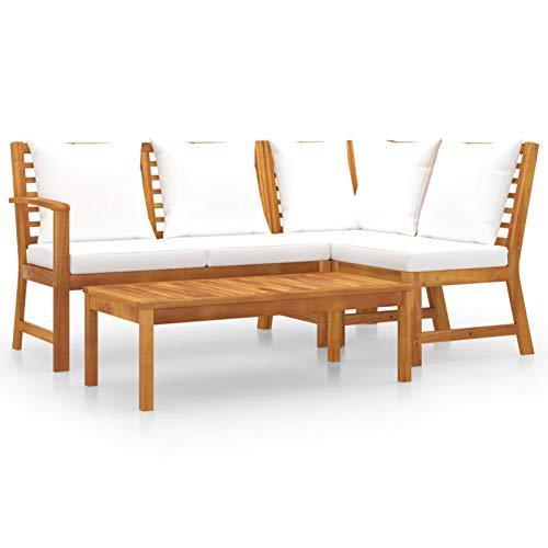 Ksodgun Muebles de jardín 4 pzas Cojines Conjunto Mesa y Sillas Jardín Conjunto de Terraza Crema Madera Maciza de Acacia