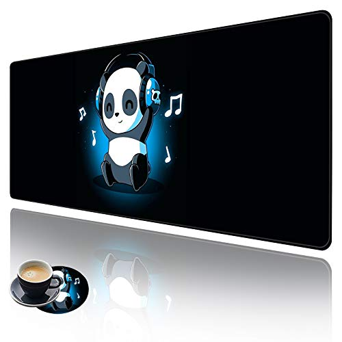 Extended Large Gaming Mouse Pad with Stitched Edges, XXL Mouse Pad Large (31.5x11.8 Inch) w/ Brilliant Design, Desk Mat Keyboard Pad with Anti Slip Base, Multifunctional Desk Pad - Music Panda