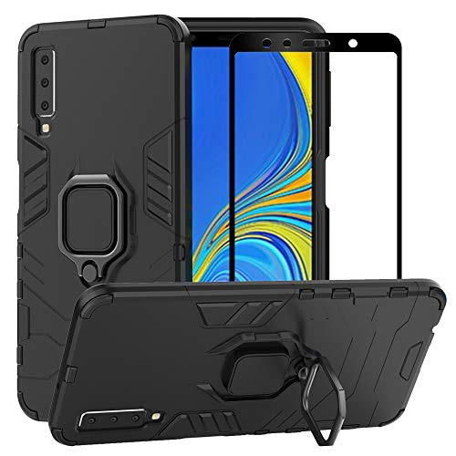 BestAlice for Samsung Galaxy A7 2018 / A750 Case, Hybrid Heavy Duty Protection Shockproof Defender Kickstand Armor Case Cover Tempered Glass Screen Protector?Black