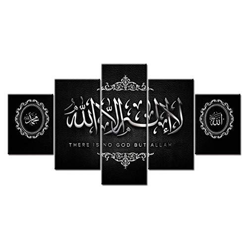 MXLYR 5 Leinwanddrucke Muslimischen Bibel Poster Islamischen Allah Der Koran Leinwand Malerei Hd Print Wandkunst Wohnzimmer Dekoration Bild