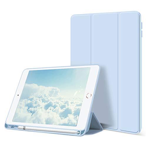 ZOYU Custodia per iPad 10.2 Pollici 2020 2019 Custodia con Porta Pencil, Supporto a Tre Ante Sottile e Leggero Cover Morbida in TPU,Auto Sveglia/Sonno per iPad 8a / 7a Generazione (Azzurro)