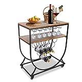 Ejoyous Servierwagen, Vintage 2 Tier Servierwagen Industrial Style Rolling Dresser Cart mit Flaschenhalter und Glashalter für Bars Restaurants Homes Parties