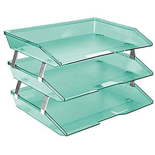 Acrimet Facility 3 Tier Letter Tray Side Load Plastic Desktop File Organizer (Clear Green Color)