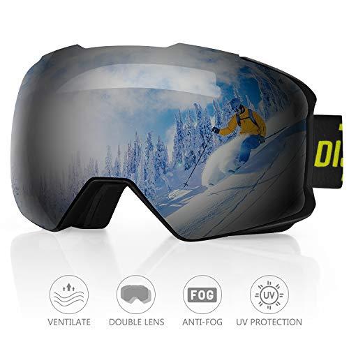 DISUPPO Maschere da Sci con Doppia Lente Antinebbia, Protezione 100% UV400,Occhiali da Snowboard Antiriflesso per Uomo, Donna e Gioventu