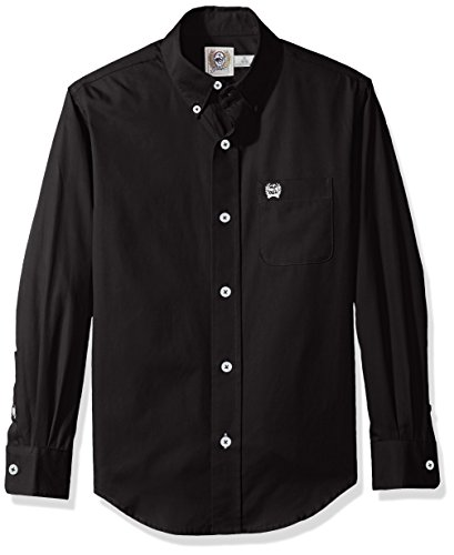 Cinch Boys' Big Classic Fit Long Sleeve Button One Open Pocket Solid, Black, L