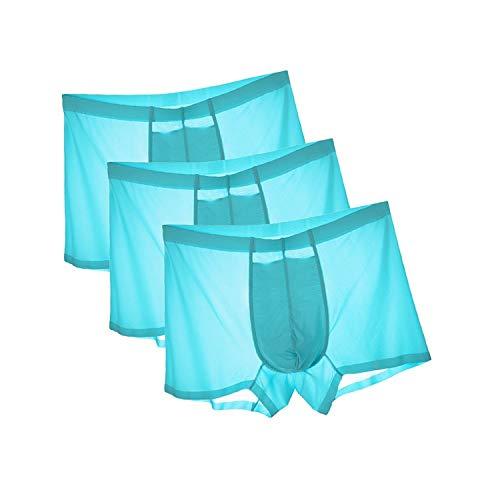 HuntDream Männer Ice Silk Unterwäsche Komfortable 3-Pack Ultimate Comfort US Größe S/Asian L, Blau