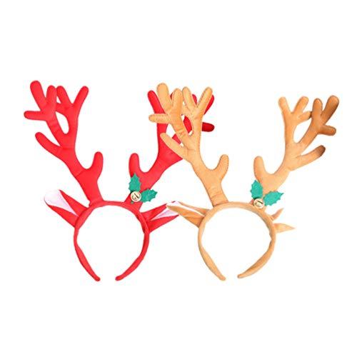 Toyvian 2 piezas de renos navideños diademas cuerno de ciervo grande campana oreja aros de pelo tocado sombreros sombreros para fiesta de navidad disfraz cosplay fiesta
