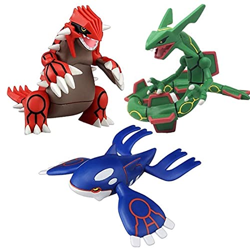 WSYGHP 3pcs Pokemon Figures Cartoon Sun and Moon Kyogre Groudon Rayquaza Action Figure Dolls Toys Anime Pokemoned Figure Toy Mega Rayquaza Collection Gifts 9cm Cute plushies