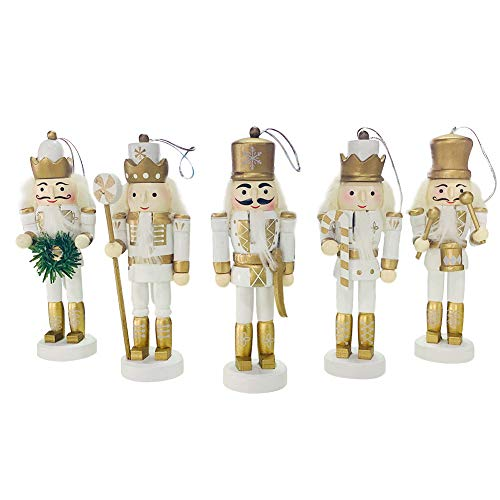BlueSpace Christmas Nutcracker Ornaments Set Wooden Nutcrackers Hanging Decorations for Christmas Tree Figures Puppet Toy Gifts(5'',Set of 5pcs,White)