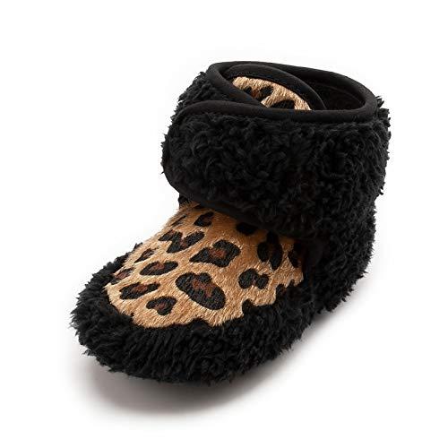 CELANDA Zapatos de Algodón Comodas para Bebe Recién Nacidos Invierno Lindo Prewalker Zapatos Habitación Casa Caliente Peluche de Zapatilla Botines con Estampado de Leopardo