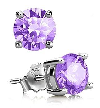 Sterling Silver February Birthstone Earrings 8mm Purple Amethyst Earring Stud Ear Studs Anniversary Birthday Mother s Gift SSE61