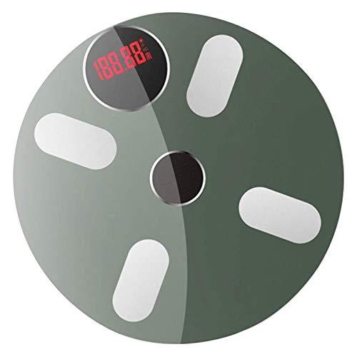 Escala de grasa corporal SFLRW, báscula de baño con IMC, báscula de peso con báscula de grasa corporal con 4 sensores de alta precisión, vidrio templado resistente a los golpes y APP