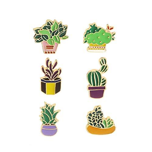Runfun 6pcs Nette Broschen Emaille-Kaktus-Blume Gras Aloe Vera Topfpflanze Abzeichen Buttons Pflanzengarten Innen