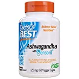 Doctor's Best Ashwagandha with Sensoril, Ayurvedic Herb, Standardized Withania somnifera Extract, Clinically Proven to Support Mental Focus, Cardiovascular Health & Healthy Energy, 125mg, 60 Count