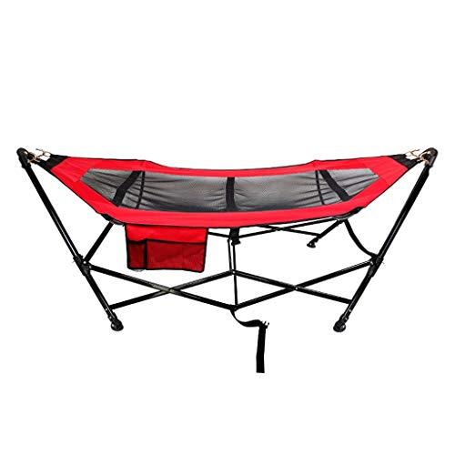 DUOER hangmatten voor thuis Enkele hangmat, ruimtebesparend opklapbare stalen standaard inclusief draagtas voor binnen en buiten strand ligstoel schommelstoelen