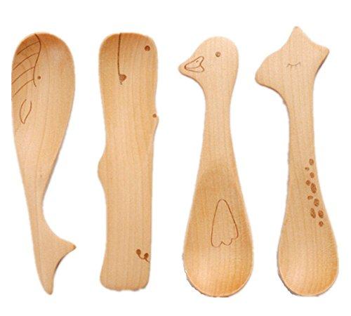 Zabrina 4 PCS Cute Cartoon Natural Wooden Animal Cutlery Set/Wooden Spoons for Children/Baby