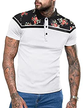 COOFANDY Men Cool Flower Printed Polo Tees Short Sleeves Basic Top Blouse