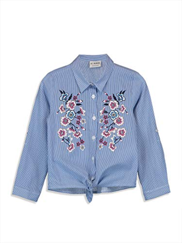LC WAIKIKI Mädchen Popelin Hemd mit Blütenmotiv 7y-8y Blau 100% Baumwolle