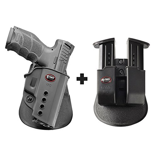 Fobus VPQ Paddle Black Concealed Carry Holster Right Hand H&K VP9, USP Full Size (not Expert), P8 + 6909 ND Double Magazine Pouch