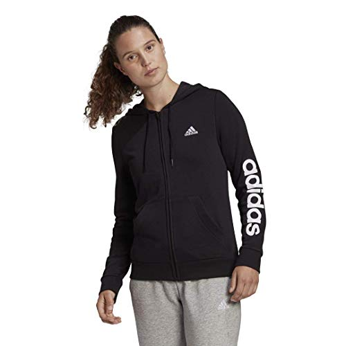 adidas,Womens,Linear French Terry Full-Zip Hoodie,Black/White,Medium