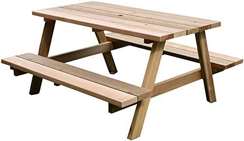ピクニックテーブル 木製 セット ガーデンテーブルセット 幅146.5 奥行140 高さ72 おしゃれ ナチュラル パラソル穴付 レッドシダー 無塗装 日本製 (幅146.5)