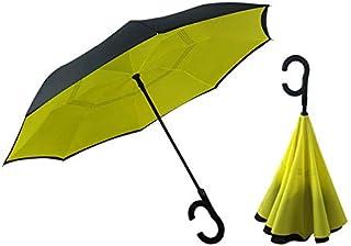 Paraguas a prueba de viento para mujer, sol y lluvia, hombre invertido, paraguas inverso con mango en C