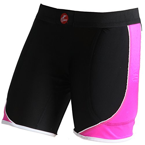 Cramer Women's Crossover Softball Compression Sliding Shorts with Foam Padding, Low-Rise 5 Inch Inseam, Support Prevents Chaffing and Injury During Activity, Black/Pink, Medium