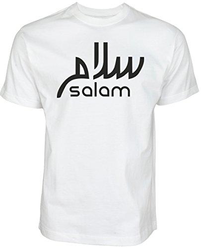 Salam | ISLAMISCHE Streetwear Kleidung FÜR Muslime T Shirt BEDRUCK Outdoor Islam Fashion (M, Weiß)