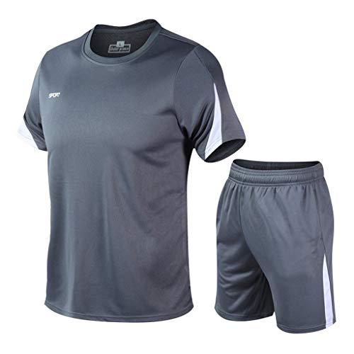 Obestseller Herren Gym Outfit Set Kurz Ärmel Trikot und Shorts Jungs Mädchen Trainingsanzug Training Bodybuilding Fitness Sport Kleidung Set