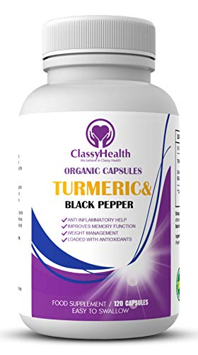 Organic Turmeric Curcumin and Black Pepper Powder 1800 mg in 120 Capsules Suitable for Vegetarians / up to 2 Months Supply / Maximum Strength of High Quality Turmeric Tablets by Classy Health