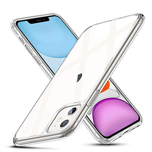 ESR Cover per iPhone 11, Protezione posteriore in vetro temperato 9H con cornice in TPU, Custodia per Assorbimento Urti con Bumper Morbido Resistente ai Graffi per iPhone 6.1 2019,Trasparente