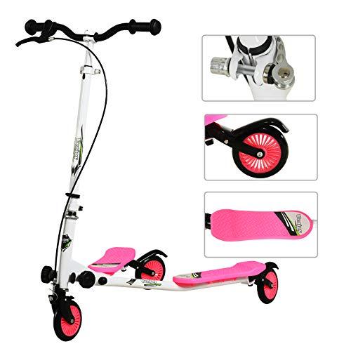 Uenjoy Patinete infantil oscilante de 3 ruedas plegable y con 3 niveles de altura ajustable para niños a partir de 5 años, niñas y adultos, color blanco y rosa
