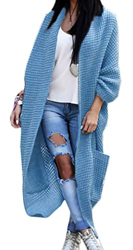 Mikos Damen Strickjacke Pullover Pulli Jacke Oversize Boho S M L XL (629) (Einheitsgrösse, Jeans)