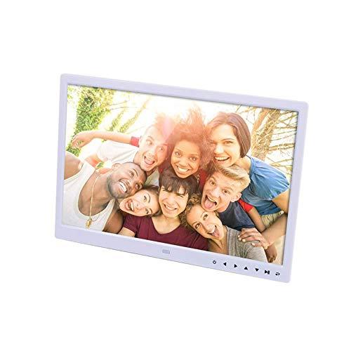 HANHJ Advance Digitaler Fotorahmen 15 Zoll Elektronischer Fotorahmen USB SD/SDHC Uhr- Und Kalenderfunktion Digitaler Bilderrahmen Mit Bewegungssensor-Fernbedienung Im Lieferumfang Enthalten,White