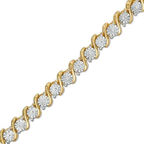 SLV Pulsera de tenis de 2,00 quilates T.W. Redonda D/VVS1 Diamantes 'S' en plata de ley 925 con chapado en oro amarillo de 14 quilates.