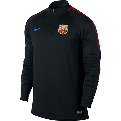 NIKE FCB M NK Dry Dril SQD Sudadera FC Barcelona, Hombre, Negro / (Black/Black/University Red/Soar)