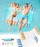 beseloa Hamaca Flotante, Hamaca de Agua 4 en 1 Piscina Tumbona Hamaca Inflable de Agua Flotante colchoneta Hamaca Flotante para Adultos Cama Flotante de Agua con Bomba de Aire(Azul + Naranja)