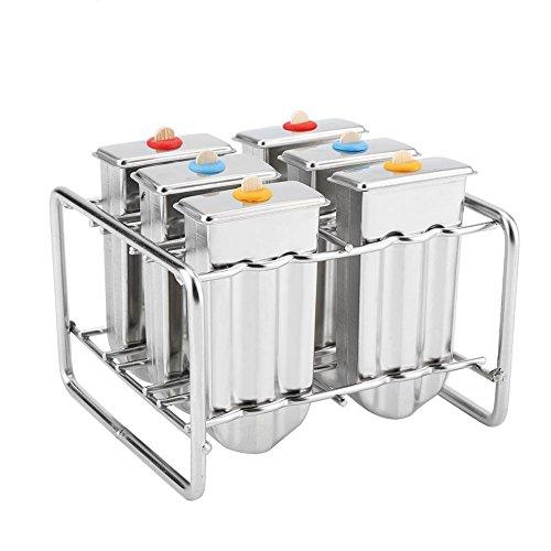 Kit de moldes de paletas de Hielo de Acero Inoxidable Ice Hola Fabricantes con Bandeja Casa Industrial Cocina DIY Ice Pop Mold Maker Herramienta(2#)