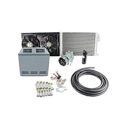Kit de evaporador de aire acondicionado universal A/C, adecuado para camiones, autobuses, vehículos recreativos, vehículos recreativos y vehículos recreativos de servicio pesado (12V)