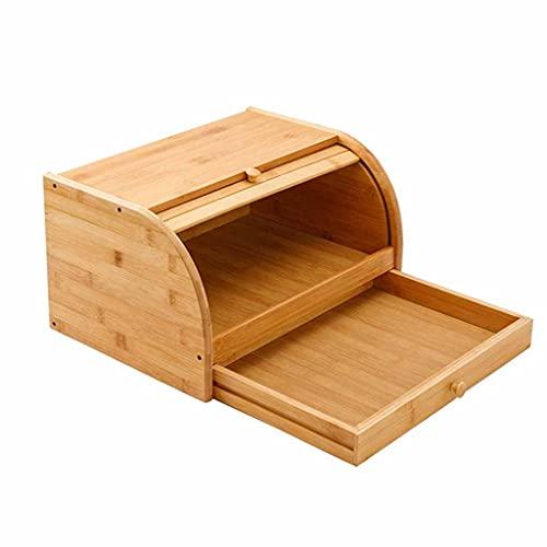 Diaod Caja de cajón de Doble Capa Caja de Pan de bambú Caja de Almacenamiento de Alimentos Bin Multifuncional Alimento Contenedor Cubiertos Vajilla Organizador