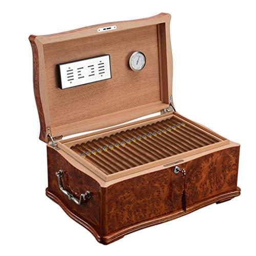 Rangements Humidors à cigares 100 Humidors à cigares Humidificateur Cedarwood à double boîte de cigares cubains équipés d'un humidificateur et d'un hygromètre ( Color : Brown , Size : 43.5*29*20.5CM )